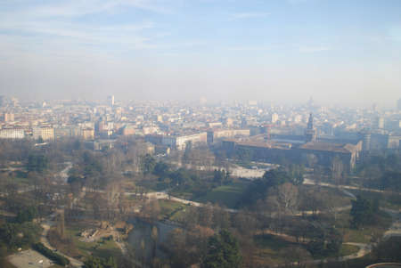 Panoramic aerial view of Milan from Branca tower, Lombardy, Italy photo