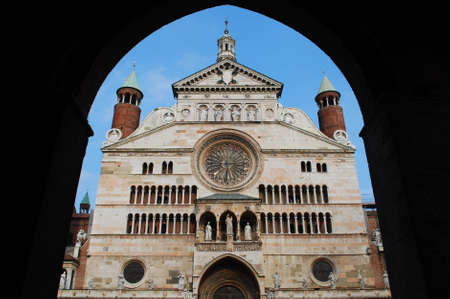 Cathedral marble facade, Cremona, Lombardy, Italy photo