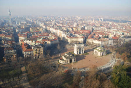 Panoramic aerial view of Arco Della Pace from Branca tower, Milan, Lombardy, Italy Stock Photo