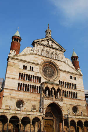 Cathedral marble facade, Cremona, Lombardy, Italy