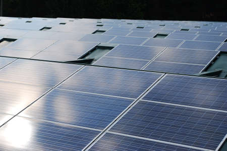 Photovoltaic solar panels on the roof for ecologic energy Stock Photo - 10661971