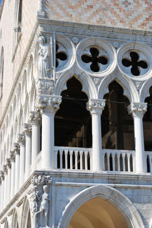Ancient famous Doges Palace detail, Venice, Italy Stock Photo