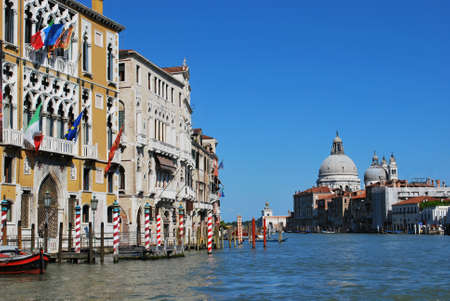 on the canal: Panorama of Grand Canal and Santa Maria della Salute church , Venice, Italy  Stock Photo