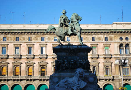 vittorio emanuele: King Vittorio Emanuele II monument in the cathedral square, Milan, Italy