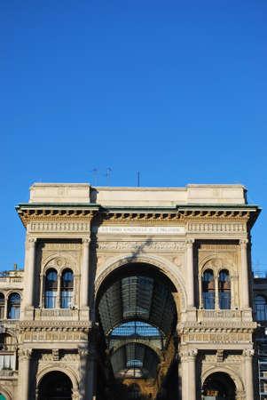 Vittorio Emanuele II Gallery main entrance arch, Milan, Italy photo