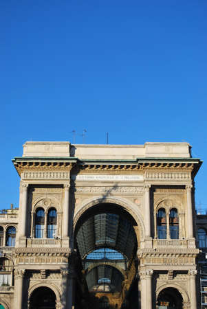 Vittorio Emanuele II Gallery main entrance arch, Milan, Italy Stock Photo