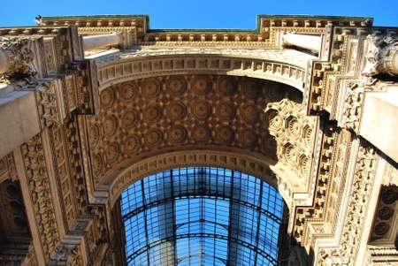 Vittorio Emanuele II Gallery,main entrance arch, Milan, Italy