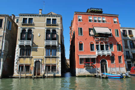 Colorful ancient houses on Grand Canal, Venice, Italy