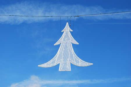White Christmas tree street light decoration on blue sky Stock Photo - 11268265