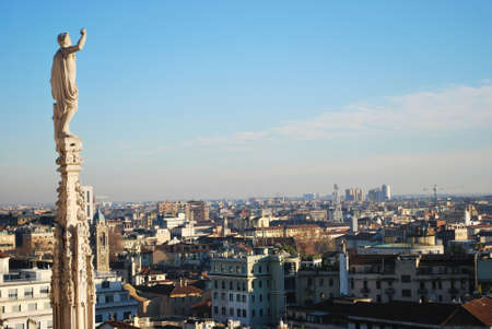 Landscape panoramic view of Milan from Duomo cathedral roof, Lombardy, Italy photo