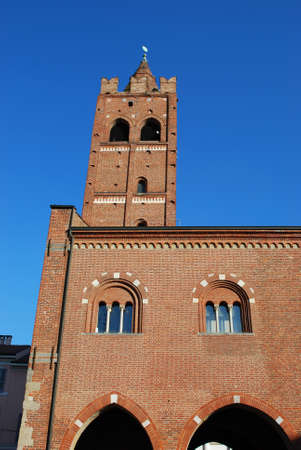 monza: Medieval Arengario palace on blue sky, Monza, Lombardy, Italy Stock Photo