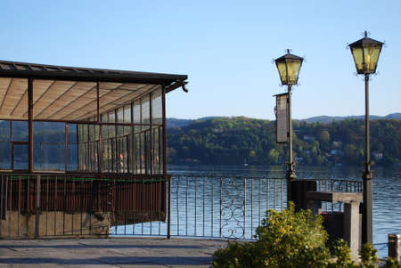Dock on Orta lake, Orta St. Giulio village, Piedmont, Italy photo