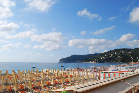 Panorama of Spotorno village and beach, Mediterranean sea, Liguria, Italy