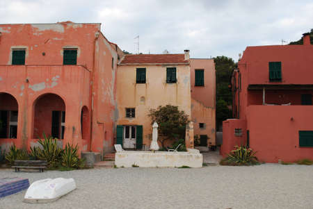 Colorful houses on the beach, Varigotti village, Liguria, Italy photo