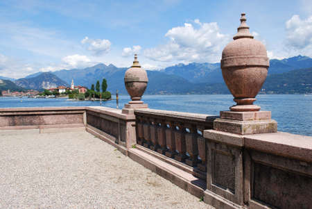 Ornamental balustrade on Borromean Island Isola Bella, Lake Maggiore, Stresa, Piedmont, Italy