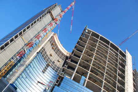 Modern skyscrapers construction site, Milan, Lombardy, Italy Stock Photo