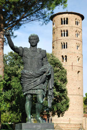 St. Apollinare in Classe church statue and round tower, Ravenna, Italy photo