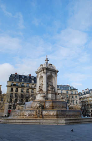 The Saint Sulpice fountain in the square in front of the famous church, Paris, France Stock Photo - 12516926