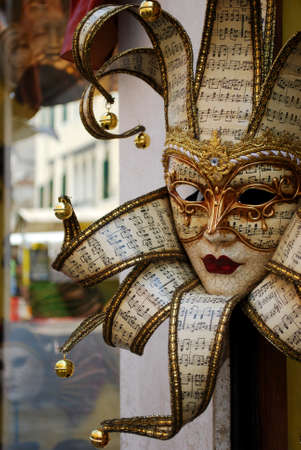 Typical souvenir carnival mask in Venice, Italy photo