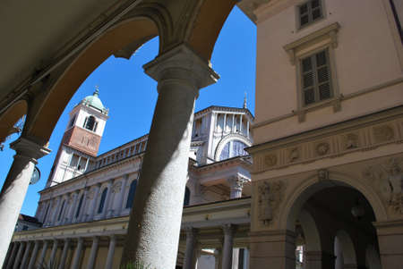 Arched portico and cathedral square in Novara, Piedmont, Italy photo