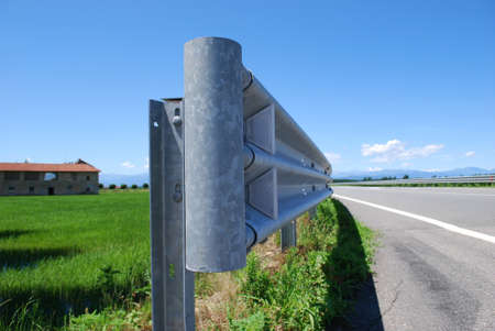 guard rail: Close up of guard rail on a road in countryside