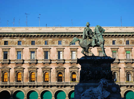 King Vittorio Emanuele II monument in Duomo square, Milan, Italy