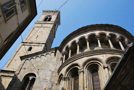 Basilica and tower bell, Bergamo, Lombardy, Italy
