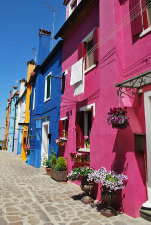 canal house: Colorful houses in Burano Island, Venice, Italy