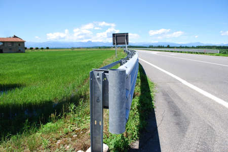 Close up of guard rail on a road in countryside photo