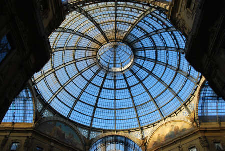 Vittorio Emanuele II Gallery, glass dome and ornaments, Milan, Italy Editorial