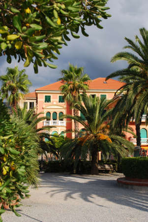 Colorful villa and park, Spotorno, Liguria, Italy