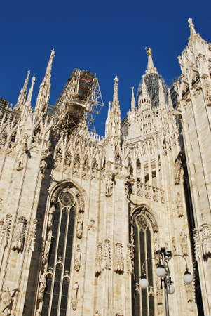 The Duomo, gothic cathedral of Milan, restoration work, Lombardy, Italy photo