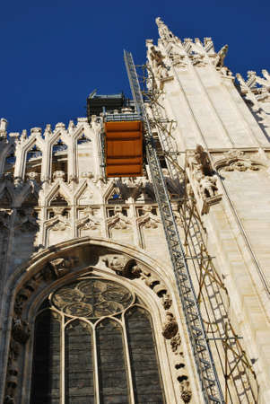 The Duomo, gothic cathedral of Milan, restoration work, Lombardy, Italy Stock Photo - 15829966