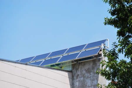 Solar panels on the roof of a building photo