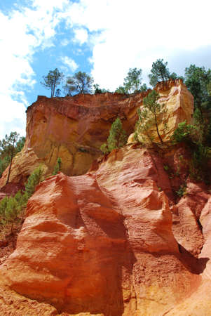 roussillon: The ocher walk with red cliffs in Roussillon, Provence, France