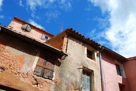 roussillon: Houses in ocher colorful historical village of Roussillon, Provence, France Stock Photo
