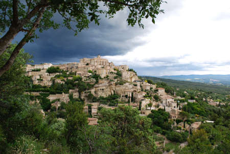 Landscape of Gordes village and countryside, Provence, France photo