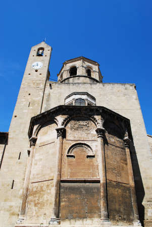luberon: Roman Catholic cathedral rear view on blue sky, Cavaillon, Luberon, Provence, France