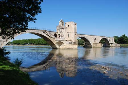 avignon: The Saint Benezet bridge on Rhone river in Avignon, Provence, France Stock Photo