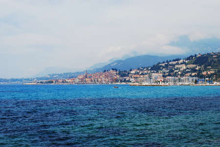 menton: Menton town and coast, french riviera landscape, Provence, France