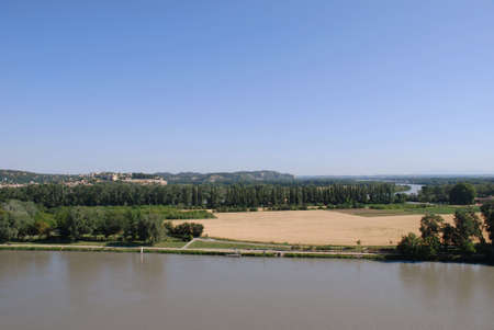 Rhone river with  landscape of countryside, Avignon, Provence, France