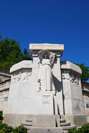 Ancient marble monument in the park, Avignon town, Provence, France