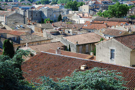 View on rooftops of old town of Avignon, Provence, France Stock Photo