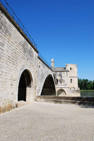The Saint Benezet bridge on Rhone river in Avignon, Provence, France Stock Photo