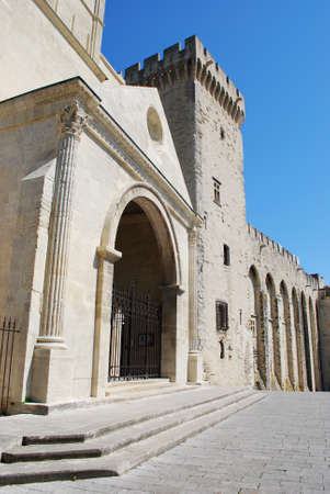 Notre Dame church and Popes Palace in Avignon, Provence, France Stock Photo