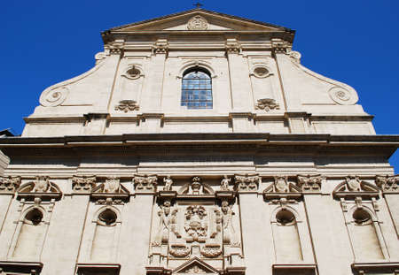 Baroque church facade in Avignon town, Provence, France