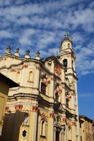 Baroque church on blue sky, Crema town, Lombardy, Italy Stock Photo