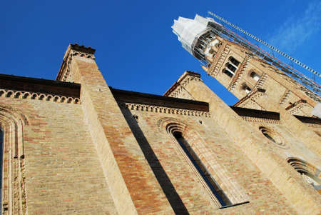 Romanesque cathedral and tower lateral view, Crema town, Lombardy, Italy
