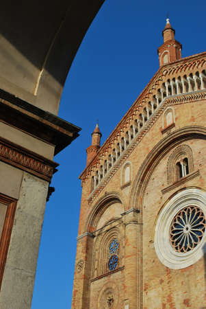 Romanesque cathedral facade detail, Crema town, Lombardy, Italy Stock Photo