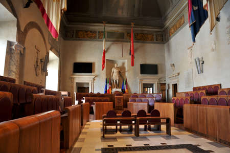 local council election: Aula Giulio Cesare, the city council with the only statue of Caesar Editorial